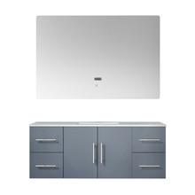 "Lexora Geneva 48"" Dark Grey Single Vanity, White Carrara Marble Top, White Square Sink and 48"" LED Mirror"