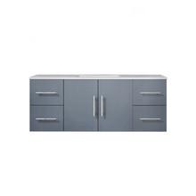 "Lexora Geneva 48"" Dark Grey Single Vanity, White Carrara Marble Top, White Square Sink and no Mirror"