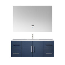 "Lexora Geneva 48"" Navy Blue Single Vanity, White Carrara Marble Top, White Square Sink and 48"" LED Mirror w/ Faucet"