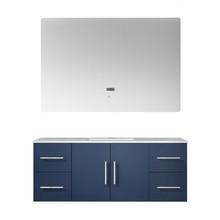"Lexora Geneva 48"" Navy Blue Single Vanity, White Carrara Marble Top, White Square Sink and 48"" LED Mirror"