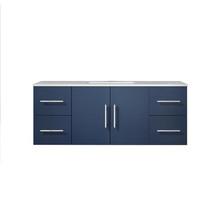 "Lexora Geneva 48"" Navy Blue Single Vanity, White Carrara Marble Top, White Square Sink and no Mirror"
