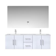 "Lexora Geneva 60"" Glossy White Double Vanity, White Carrara Marble Top, White Square Sinks and 60"" LED Mirror w/ Faucets"