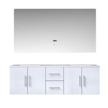 "Lexora Geneva 60"" Glossy White Double Vanity, White Carrara Marble Top, White Square Sinks and 60"" LED Mirror"