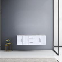 "Lexora Geneva 60"" Glossy White Double Vanity, White Carrara Marble Top, White Square Sinks and no Mirror"