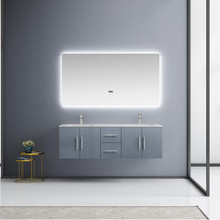 "Lexora Geneva 60"" Dark Grey Double Vanity, White Carrara Marble Top, White Square Sinks and 60"" LED Mirror w/ Faucets"