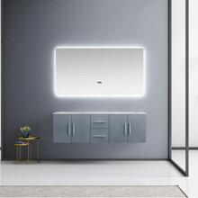 "Lexora Geneva 60"" Dark Grey Double Vanity, White Carrara Marble Top, White Square Sinks and 60"" LED Mirror"