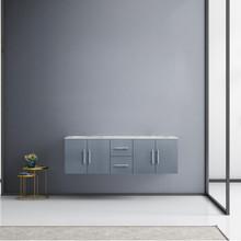 "Lexora Geneva 60"" Dark Grey Double Vanity, White Carrara Marble Top, White Square Sinks and no Mirror"