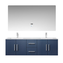 """Lexora Geneva 60"""" Navy Blue Double Vanity, White Carrara Marble Top, White Square Sinks and 60"""" LED Mirror w/ Faucets"""