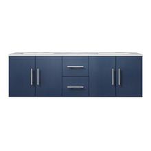 "Lexora Geneva 60"" Navy Blue Double Vanity, White Carrara Marble Top, White Square Sinks and no Mirror"