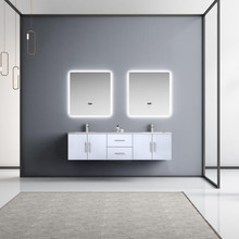 """Lexora Geneva 72"""" Glossy White Double Vanity, White Carrara Marble Top, White Square Sinks and 30"""" LED Mirrors w/ Faucets"""