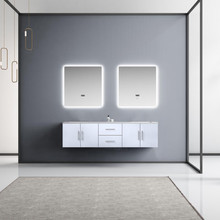 "Lexora Geneva 72"" Glossy White Double Vanity, White Carrara Marble Top, White Square Sinks and 30"" LED Mirrors"