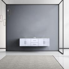 "Lexora Geneva 72"" Glossy White Double Vanity, White Carrara Marble Top, White Square Sinks and no Mirror"