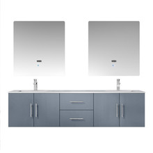 "Lexora Geneva 72"" Dark Grey Double Vanity, White Carrara Marble Top, White Square Sinks and 30"" LED Mirrors w/ Faucets"