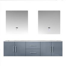 "Lexora Geneva 72"" Dark Grey Double Vanity, White Carrara Marble Top, White Square Sinks and 30"" LED Mirrors"