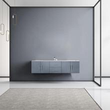 "Lexora Geneva 72"" Dark Grey Double Vanity, White Carrara Marble Top, White Square Sinks and no Mirror"