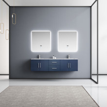 """Lexora Geneva 72"""" Navy Blue Double Vanity, White Carrara Marble Top, White Square Sinks and 30"""" LED Mirrors w/ Faucets"""