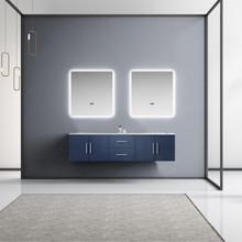 "Lexora Geneva 72"" Navy Blue Double Vanity, White Carrara Marble Top, White Square Sinks and 30"" LED Mirrors"