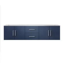 "Lexora Geneva 72"" Navy Blue Double Vanity, White Carrara Marble Top, White Square Sinks and no Mirror"