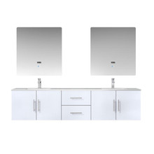 """Lexora Geneva 80"""" Glossy White Double Vanity, White Carrara Marble Top, White Square Sinks and 30"""" LED Mirrors w/ Faucets"""