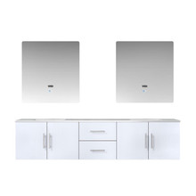 "Lexora Geneva 80"" Glossy White Double Vanity, White Carrara Marble Top, White Square Sinks and 30"" LED Mirrors"