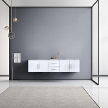 "Lexora Geneva 80"" Glossy White Double Vanity, White Carrara Marble Top, White Square Sinks and no Mirror"