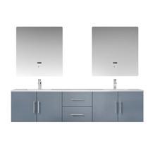 "Lexora Geneva 80"" Dark Grey Double Vanity, White Carrara Marble Top, White Square Sinks and 30"" LED Mirrors w/ Faucets"