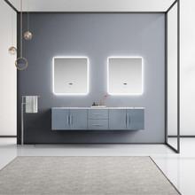 "Lexora Geneva 80"" Dark Grey Double Vanity, White Carrara Marble Top, White Square Sinks and 30"" LED Mirrors"