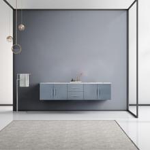 "Lexora Geneva 80"" Dark Grey Double Vanity, White Carrara Marble Top, White Square Sinks and no Mirror"