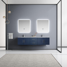 """Lexora Geneva 80"""" Navy Blue Double Vanity, White Carrara Marble Top, White Square Sinks and 30"""" LED Mirrors w/ Faucets"""