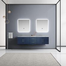 "Lexora Geneva 80"" Navy Blue Double Vanity, White Carrara Marble Top, White Square Sinks and 30"" LED Mirrors"