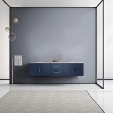 "Lexora Geneva 80"" Navy Blue Double Vanity, White Carrara Marble Top, White Square Sinks and no Mirror"