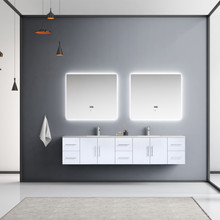 """Lexora Geneva 84"""" Glossy White Double Vanity, White Carrara Marble Top, White Square Sinks and 36"""" LED Mirrors w/ Faucets"""