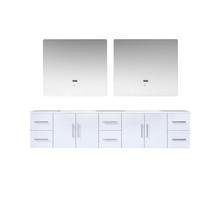 "Lexora Geneva 84"" Glossy White Double Vanity, White Carrara Marble Top, White Square Sinks and 36"" LED Mirrors"