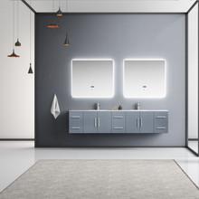 "Lexora Geneva 84"" Dark Grey Double Vanity, White Carrara Marble Top, White Square Sinks and 36"" LED Mirrors w/ Faucets"