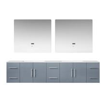 "Lexora Geneva 84"" Dark Grey Double Vanity, White Carrara Marble Top, White Square Sinks and 36"" LED Mirrors"