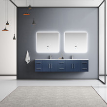 """Lexora Geneva 84"""" Navy Blue Double Vanity, White Carrara Marble Top, White Square Sinks and 36"""" LED Mirrors w/ Faucets"""
