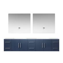 "Lexora Geneva 84"" Navy Blue Double Vanity, White Carrara Marble Top, White Square Sinks and 36"" LED Mirrors"
