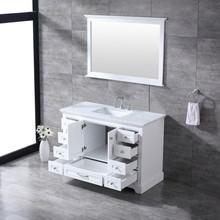 """Lexora Dukes 48"""" White Single Vanity, White Carrara Marble Top, White Square Sink and 46"""" Mirror w/ Faucet"""