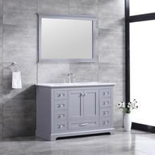 "Lexora Dukes 48"" Dark Grey Single Vanity, White Carrara Marble Top, White Square Sink and 46"" Mirror w/ Faucet"