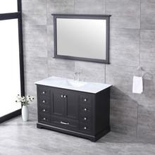 "Lexora Dukes 48"" Espresso Single Vanity, White Carrara Marble Top, White Square Sink and 46"" Mirror w/ Faucet"