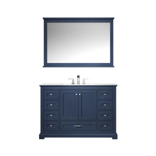 "Lexora Dukes 48"" Navy Blue Single Vanity, White Carrara Marble Top, White Square Sink and 46"" Mirror w/ Faucet"