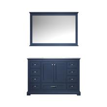 "Lexora Dukes 48"" Navy Blue Single Vanity, White Carrara Marble Top, White Square Sink and 46"" Mirror"