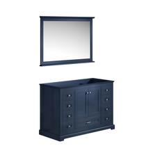 "Lexora Dukes 48"" Navy Blue Single Vanity, no Top and 46"" Mirror"