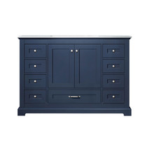 "Lexora Dukes 48"" Navy Blue Single Vanity, White Carrara Marble Top, White Square Sink and no Mirror"