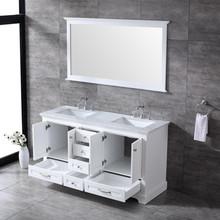 "Lexora Dukes 60"" White Double Vanity, White Carrara Marble Top, White Square Sinks and 58"" Mirror w/ Faucets"