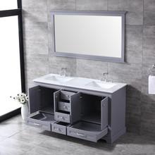 "Lexora Dukes 60"" Dark Grey Double Vanity, White Carrara Marble Top, White Square Sinks and 58"" Mirror w/ Faucets"