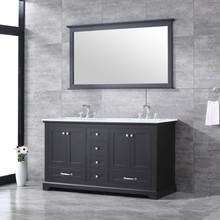 "Lexora Dukes 60"" Espresso Double Vanity, White Carrara Marble Top, White Square Sinks and 58"" Mirror w/ Faucets"