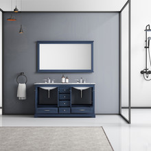 """Lexora Dukes 60"""" Navy Blue Double Vanity, White Carrara Marble Top, White Square Sinks and 58"""" Mirror w/ Faucets"""