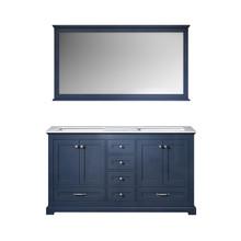"Lexora Dukes 60"" Navy Blue Double Vanity, White Carrara Marble Top, White Square Sinks and 58"" Mirror"