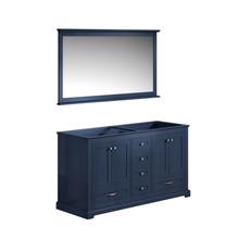 "Lexora Dukes 60"" Navy Blue Double Vanity, no Top and 58"" Mirror"